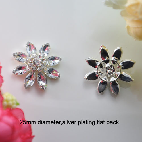 (S0148) 25mm ,flower cluster rhinestone embellishment,silver plating,flat back,flower shape,clear crystals and acrylic beads(China (Mainland))
