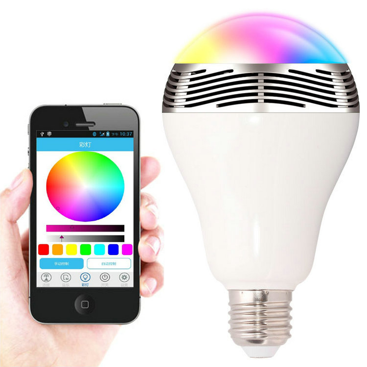 Jbl 01 smart led bulb lamp with bluetooth speaker e27 base for Led light bulb with built in bluetooth speaker