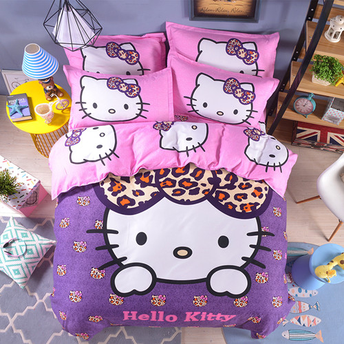 Unihome Home textiles Children Cartoon Hello kitty kids bedding set, include duvet cover bed sheet pillowcase(China (Mainland))