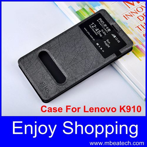 one pcs drop shipping Dual Windows protective skin leather back cover case for lenovo k910 case flip VIBE Z(China (Mainland))