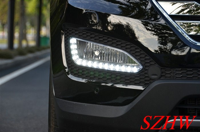 Super Bright LED daytime running lights DRL with  fog lamp for 2013 All new Hyundai Santa Fe / 2012 IX45 1:1 , replacement