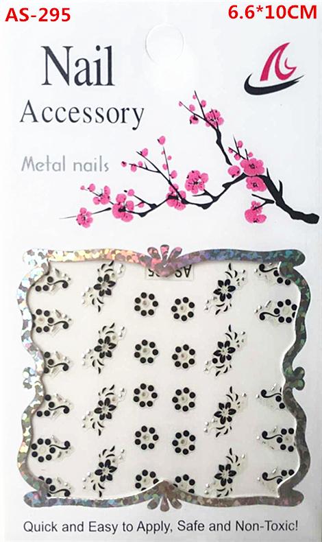 AS-295, A black and silver nail stickers, A woman's nails design adorn article beautiful women nail tools(China (Mainland))