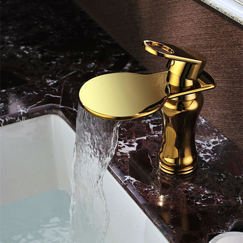 JMKWS Luxury Basin Faucet Mixer Golden Silvery Bathroom Faucets Modern Water Tap Waterfall Wall Faucet Wash Basins Accessories(China (Mainland))