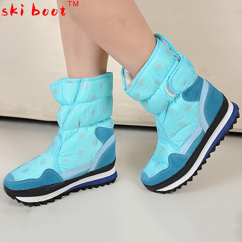 Snow boots waterproof slip-resistant medium-leg boots waterproof boots warm shoes for women(China (Mainland))