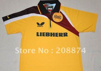 free shipping 2011 NEW Butterfly Man/s Badminton / Tennis YY6609 Polo Shirt YELLOW /BLACK