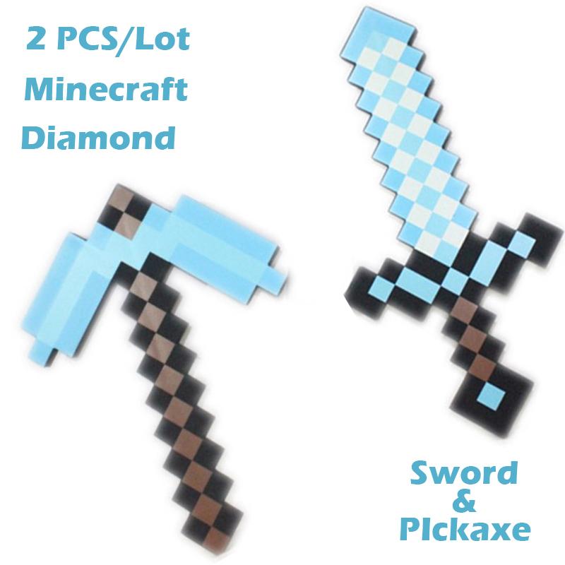 2Pieces/Set MC Blue Toy Diamond Pickaxe&Sword! Minecraft Toy Series Newest Design EVA Foam Mosaic Sword! Minecraft weapon sword!(China (Mainland))