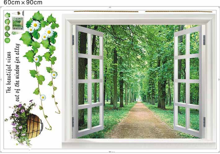 1 Pieces Huge Beautiful Window 3D Green Flowers Wall Stickers/ Art Mural Decal/Wallpaper Large Size:60*90cm - 24 Hours Export Trade Co., Ltd store