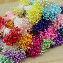 1 Bundle= (150PCS )Artificial Flower Double Heads Stamen Pearlized Craft Cards Cakes Decor Floral(China (Mainland))