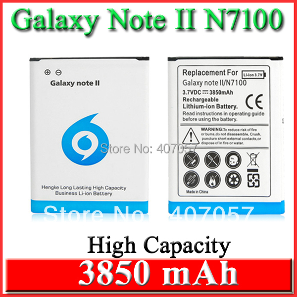10 ps High Capacity 3850mAh Replacement Lithium-ion Battery For Samsung Galaxy Note 2 II GT N7100 GT-N7100 Bateria Batterij AKKU(China (Mainland))