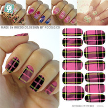 Water Transfer Classic Pink Black Tartan Design Nails Stickers Manicure Styling Tools Water Film Paper Decals
