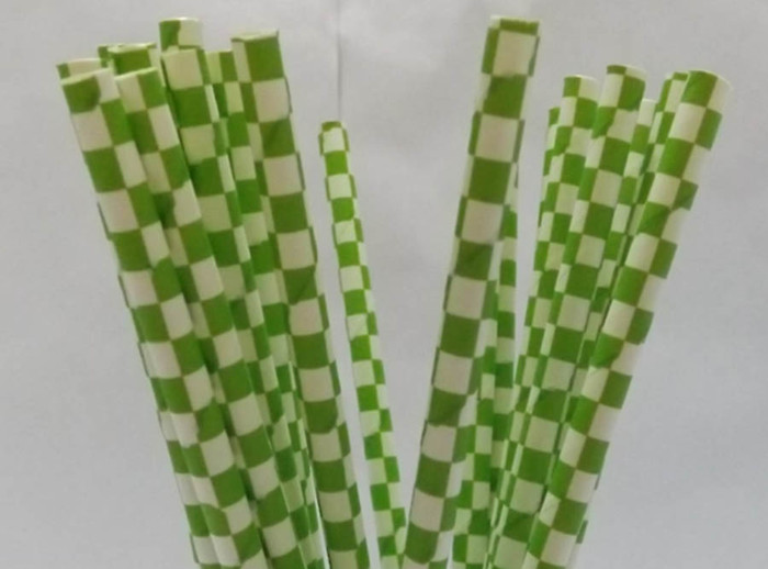 Free Shipping 100 Pcs Drinking Straws Green Square Pattern Paper Straws Wedding Birthday Decoration Supplies(China (Mainland))