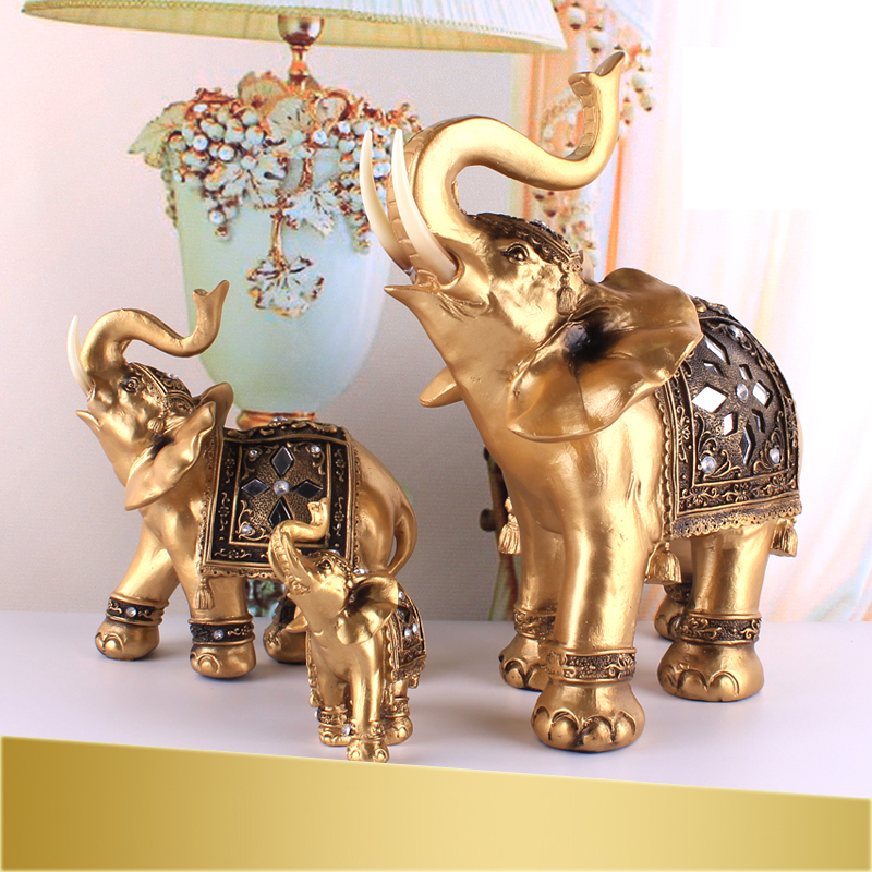 2 Elephant European Style Home Accessories Garden Resin
