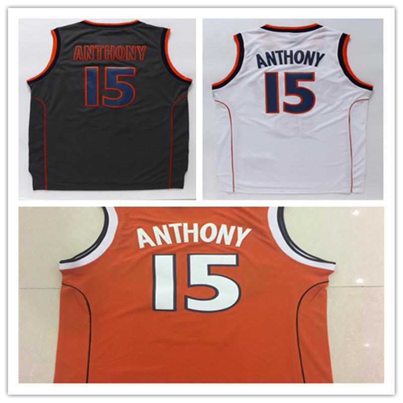 #15 Carmelo Anthony Syracuse Jersey, Stitched Mens #15 Carmelo Anthony Syracuse College Basketball Jersey Black White Orange(China (Mainland))