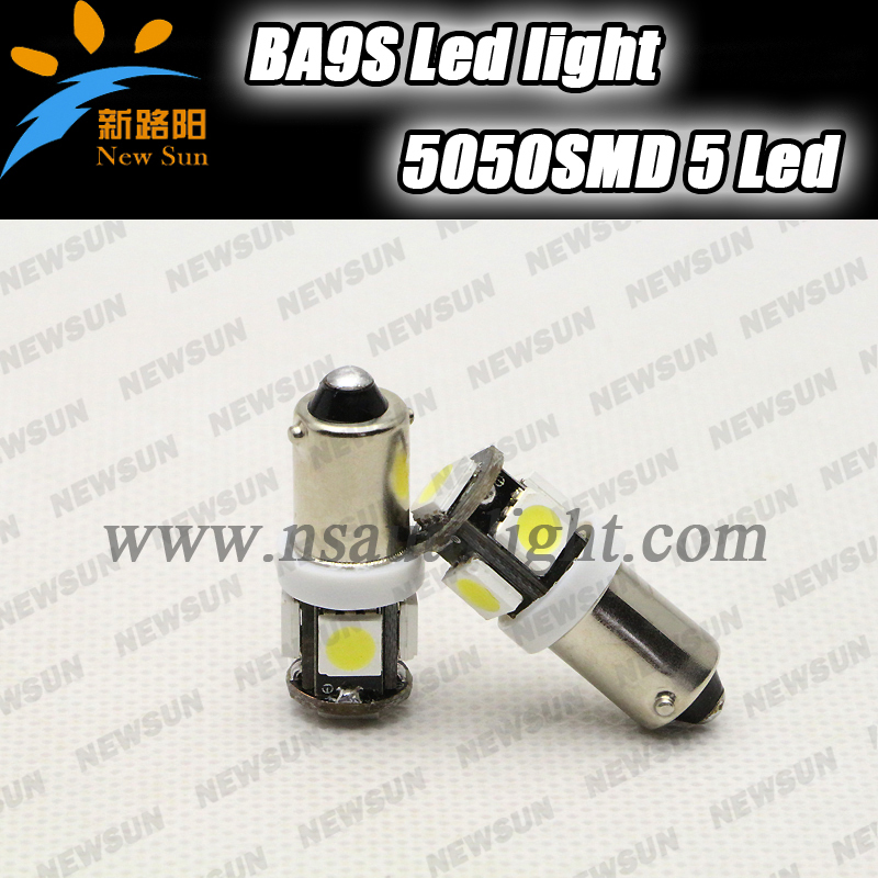 4pcs Car Bulb CANBUS Error-Free BA9S LED H6W White 5050 SMD 5 LED Light Lamp 12V white bulb led light car parking light