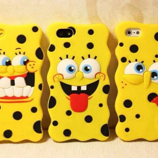 Hot 3D Cute SpongeBob Kids Cartoon Rubber Soft Silicone Phone Case For iPhone 4 4s 5 5s 6 4.7 6 plus 5.5(China (Mainland))