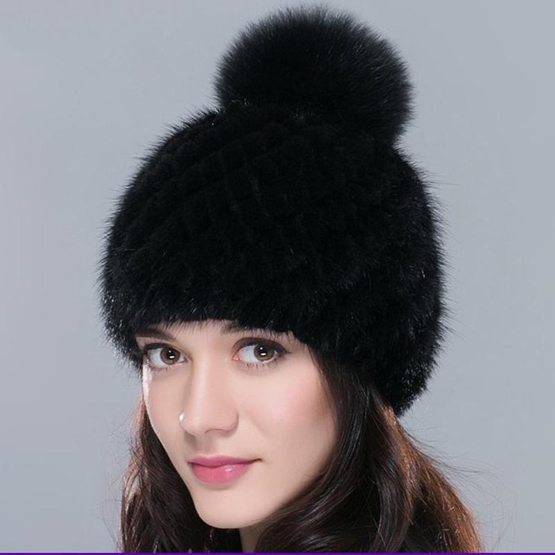 sale real mink fur hat for winter knitted mink