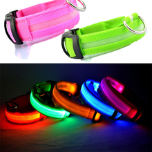 Nylon Pet Dog Collar LED Light Night Safety Light-up Flashing Glow in the Dark Lighted Cat Collar LED Dog Collars For Small Dogs(China (Mainland))