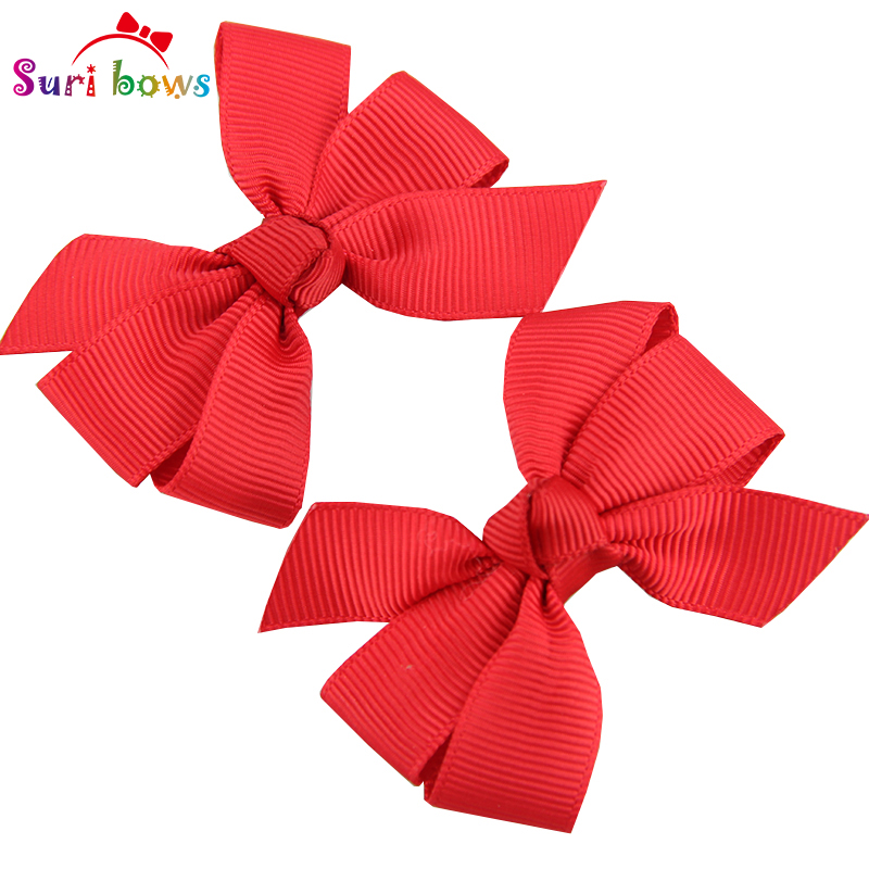 1 Pair Trendy Floral Solid Bows Hair Clips For Baby Girls Grosgrain Ribbon Polyester Hair Accessories Children Headpins FS019(China (Mainland))