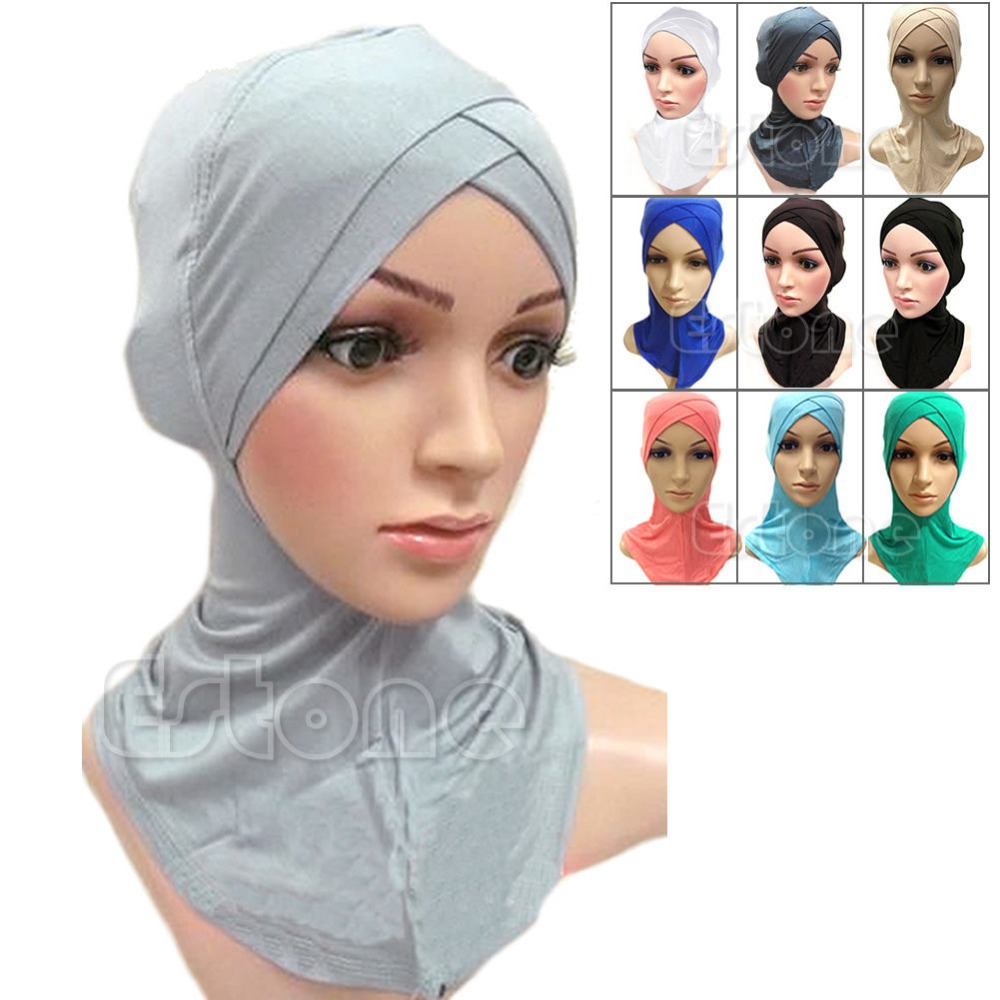Free Shipping Full Cover Inner Muslim Cotton Hijab Cap Islamic Head Wear Hat Underscarf Colors(China (Mainland))