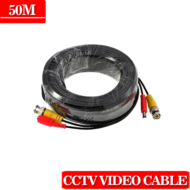 50m cctv cable Video Power Cable high quality BNC + DC Connector for CCTV Security Cameras Free Shipping(China (Mainland))