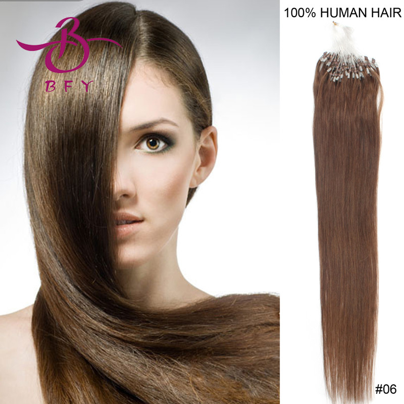 Indian remy hair micro rings/links/loops hair extension 18inch-45cm 0.5g #6 dark chocolate brown color 100pieces<br><br>Aliexpress