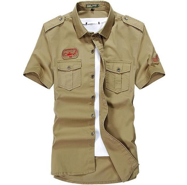 Бренд Nianjeep мужчины свободного покроя рубашка короткий рукав 100% хлопок на открытом ...