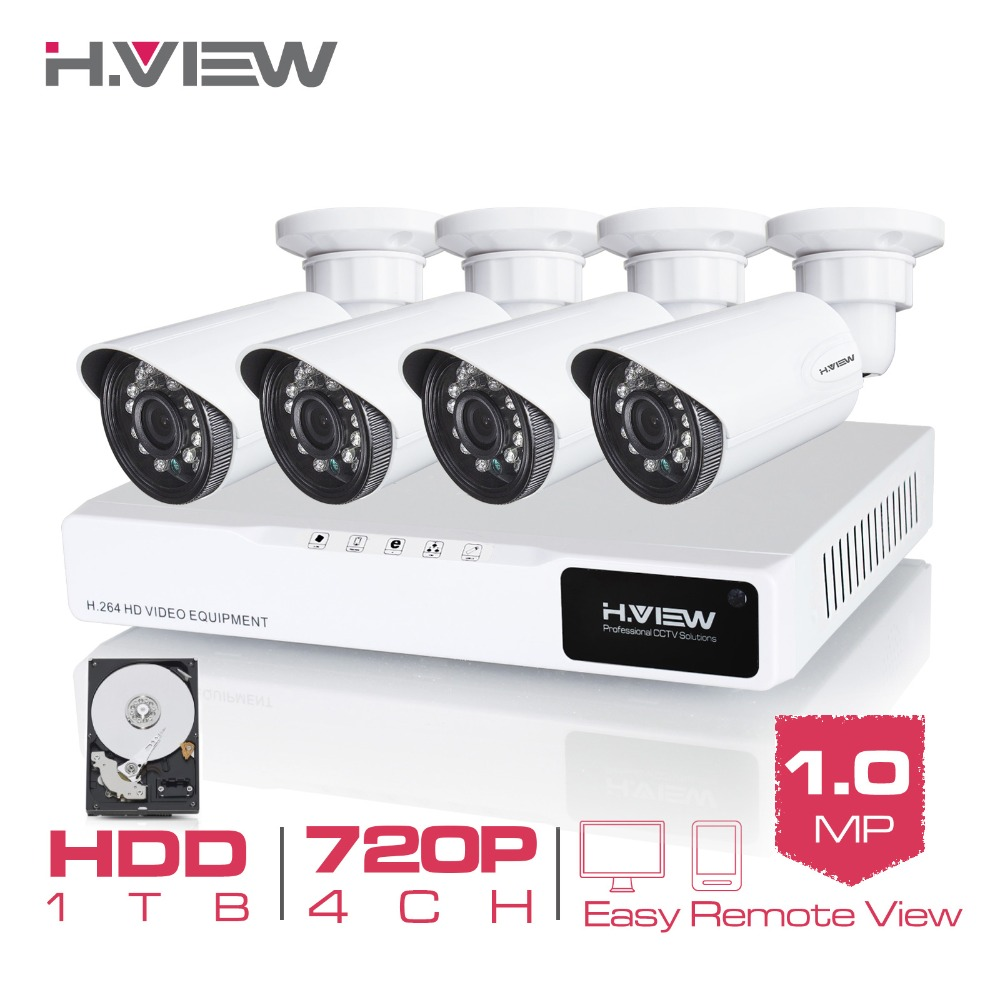 Гаджет  H.View 4CH CCTV System 720P HDMI AHD CCTV DVR 1 TB HDD 4PCS 1.0 MP IR Outdoor Security Camera 1200 TVL Camera None Безопасность и защита