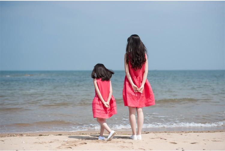 Скидки на Родитель - ребенок наряд 100% чистого льна нежно розовый горький блошница платье