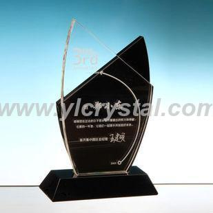 Popular New Design Noble Custom Made Black And Clear Crystal Trophy Award(China (Mainland))