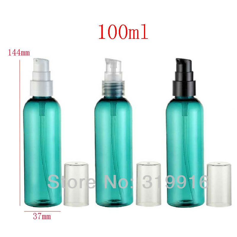 100ml x 50 green empty cosmetic cream plastic bottle with pump,3.5oz cream pump dispenser PET containers bottles cosmetics(China (Mainland))