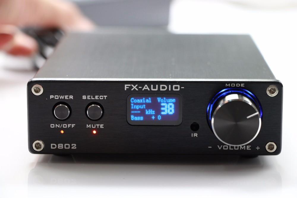 FX-Audio D802 Remote Control USB Optical Fiber Coaxial Input Home Audio Hifi Pure Digital Amplifier 192KHz 80W+80W OLED Display(China (Mainland))