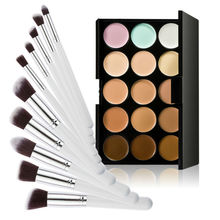 15 Colors Contour Cream Makeup Concealer Palette 10pcs Brush White Silver E5M1
