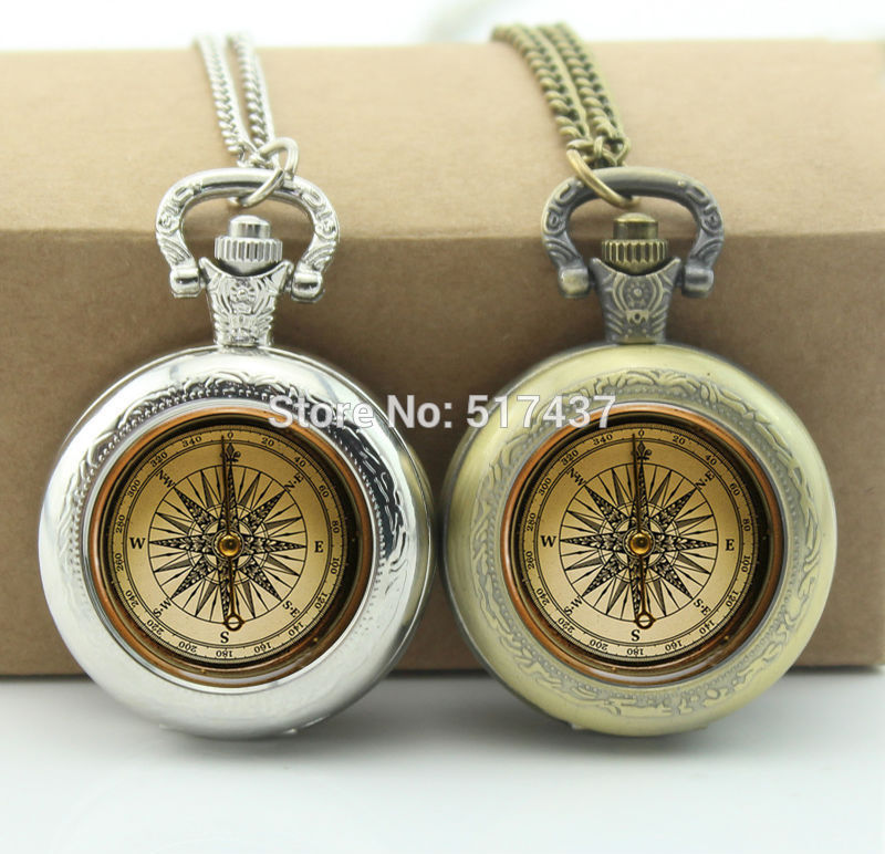 WholesaleVintage Compass Pocket Watch Floating Glass Lockets Necklace Vintage Pocket Watch Necklace Silver(China (Mainland))