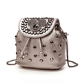 MINI Trendy Fashion Drawstring Bag Women Solid Color Cartoon Pattern Rivet studded Backpack Dual purose Bag