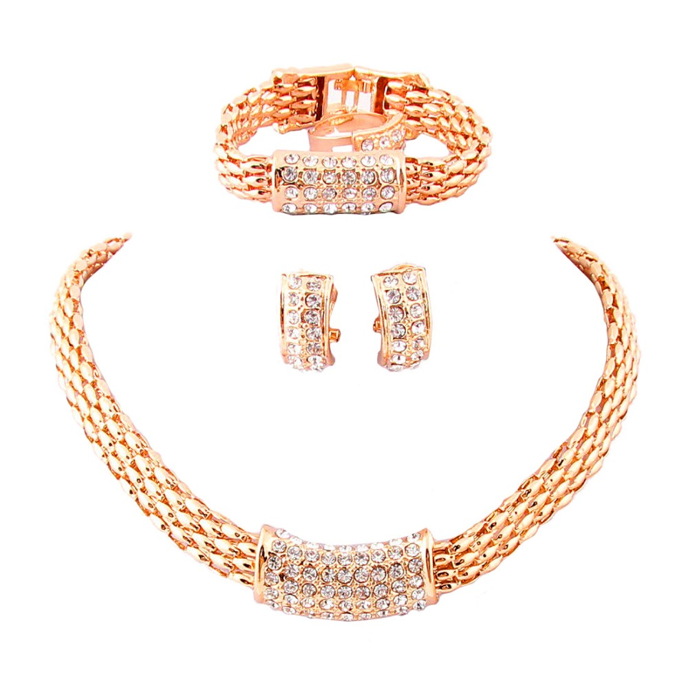 18k Gold /Silver Plated Rhinestone Necklace Costume Jewelry Set Wedding Party Gifts Bridal Sets A1001 - Clover boutique mall store