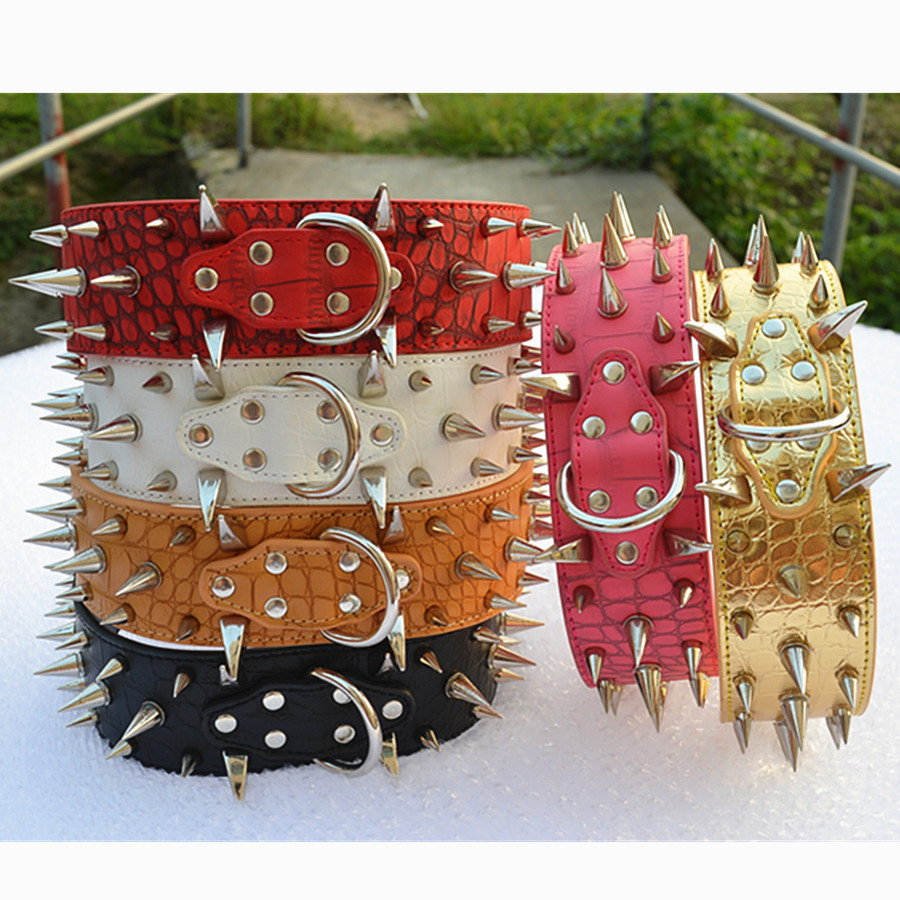Personalized Spiked Dog Collar 2'' Wide Croc Leather Collars For Dogs Pitbull Collar Large Pet Dog Supplies(China (Mainland))