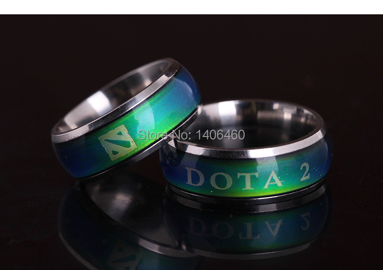 2014 new 10pcs/lot fashion dota 2 game change color mood ring letter rings men jewelry kids birthday gift free shipping 30(China (Mainland))