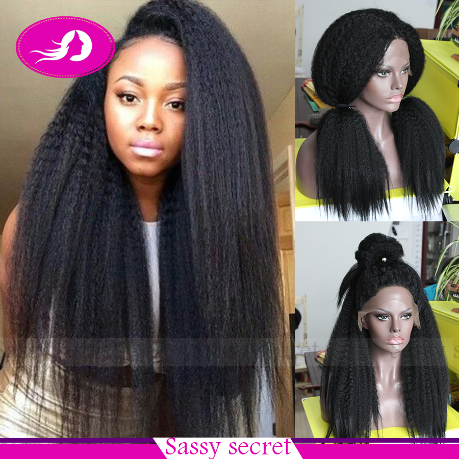 Yaki straight hair wig lace front wig wholesale kinky straught synthetic lace front wig heat resistant for black women(China (Mainland))