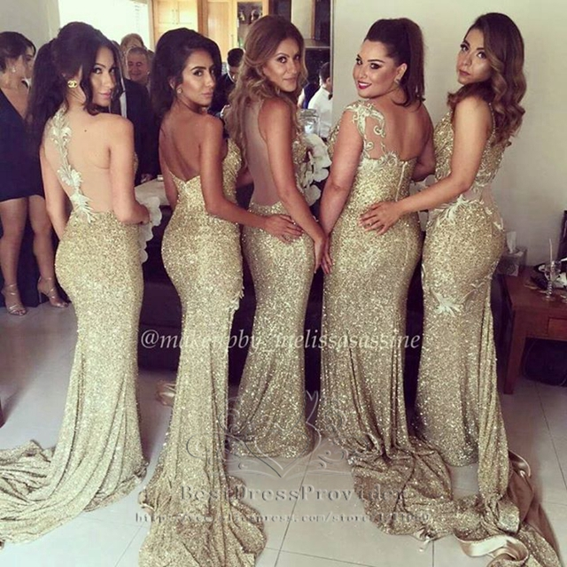 2015 Sexy Plus Size Sweetheart Sleeveless Gold Sequin Sparkly Long Bridesmaid Dress