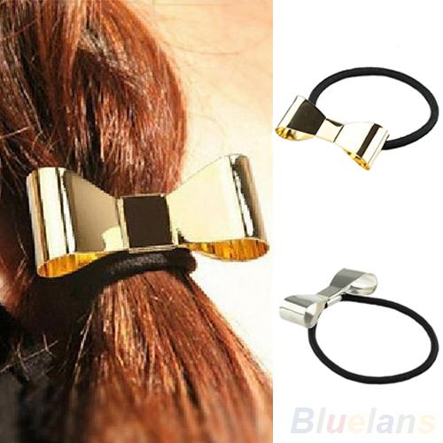 Fashion Punk Polish Metal Bow Tie Hair Band Cuff Wrap Pony Tail Holder Headband Headwear Women 0196(China (Mainland))
