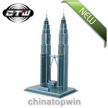 hot&novelty gifts! puzzle,3D puzzle,3D paper models, jigsaw puzzle, Malaysia Double Star Tower free shipping
