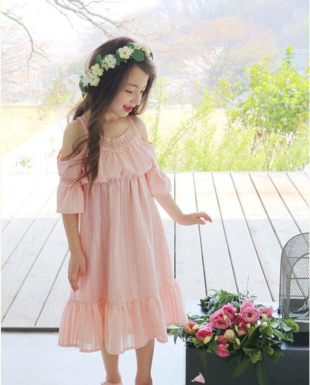 New Arrival Princess Kids Girls Lace Maxi Dress Halter Cotton Sundress Pink and White Color Ruffles Dress(China (Mainland))