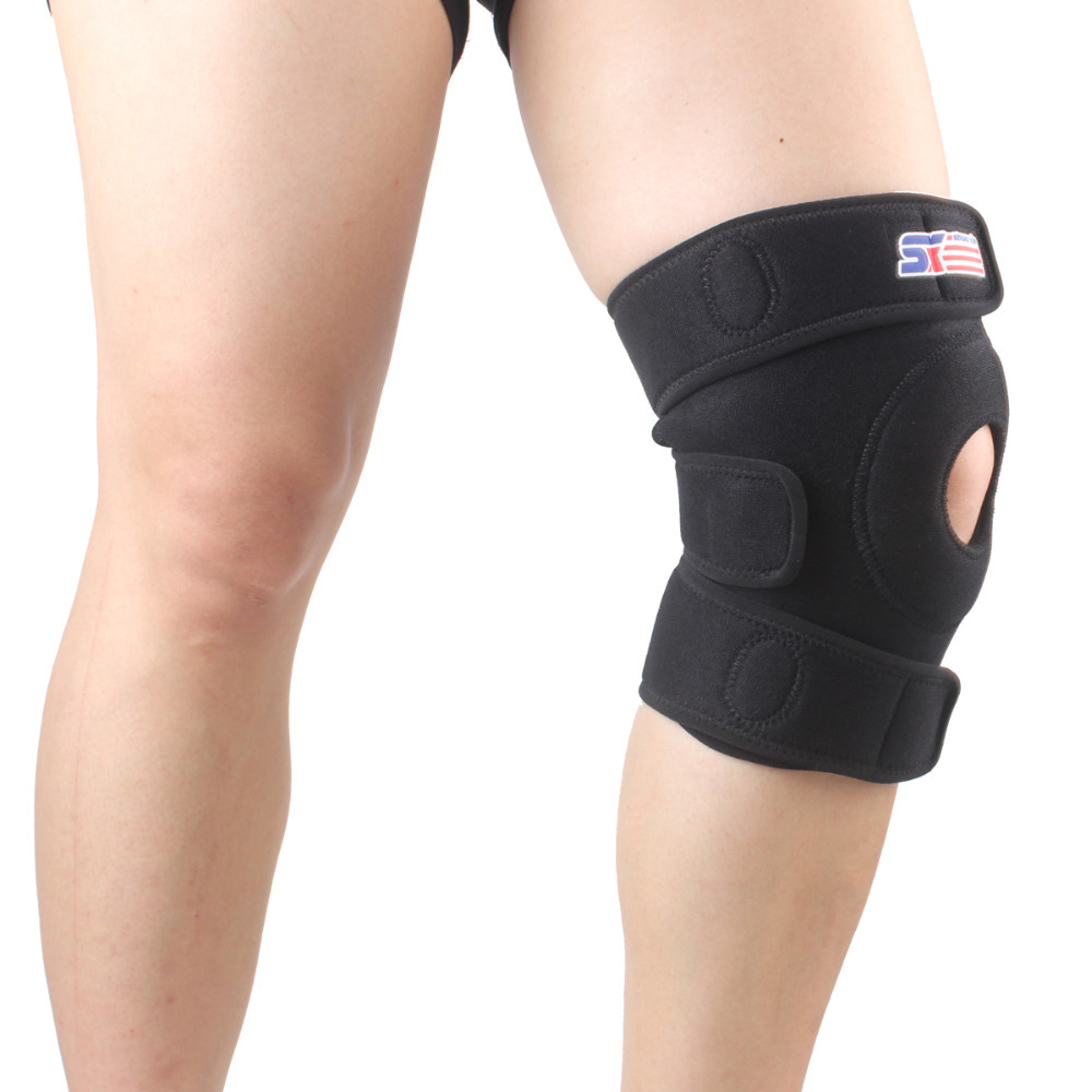 Tennis basketball football Sports safety fitness Knee pad Patella Support Brace Wrap Protector Sleeve - Black(China (Mainland))