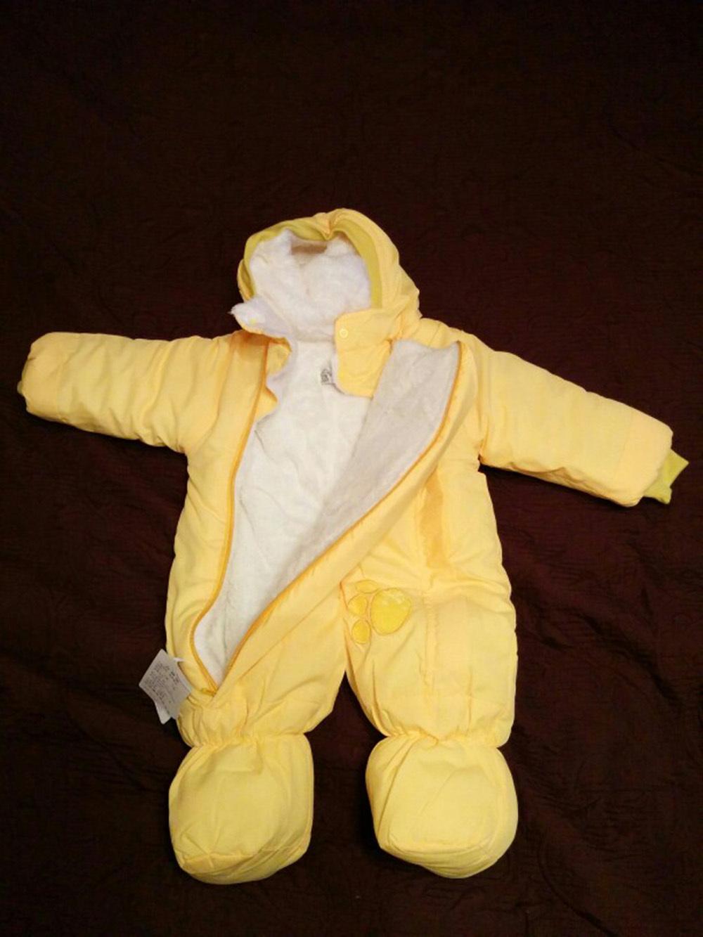 Скидки на Детские расстроен хлопка-мягкие одежды пальто комбинезоны новорожденных животных, одежда подняться пуховик ткани зима на одежду