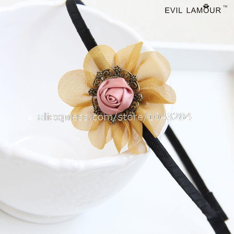 Sen Department retro ginger pink roses original handmade hair bands hair jewelry wholesale FG-08 free shipping(China (Mainland))
