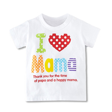 High Quality Boys Girls T-Shirt Summer I Love Pa Pa Ma Ma Series Children's Clothing Baby Goods Wholesale