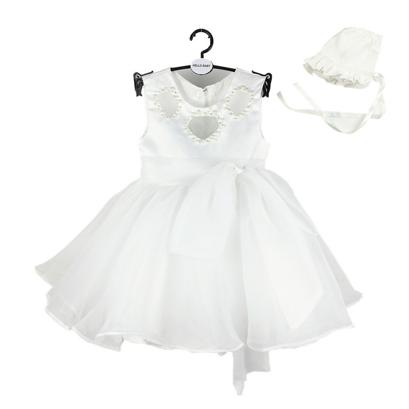 HELLO BABY Newborn Baby Girls Pearls white Christening Gowns with hat ,1 years birthday Dress,vestidos For Wedding 1035(China (Mainland))