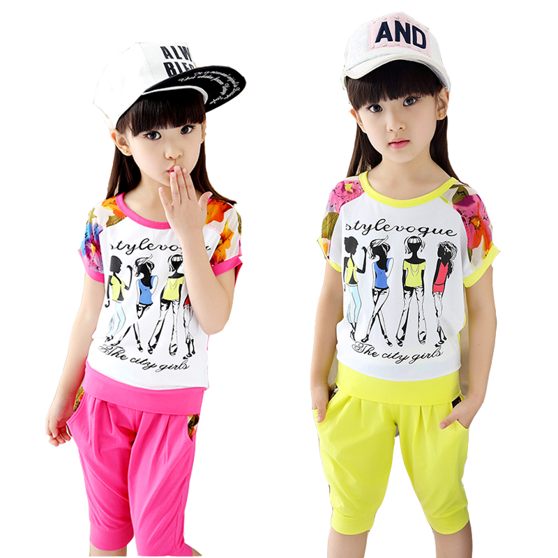 Children's clothing girls child sets summer 2016 new kids short-sleeve flowers sports suit clothes big girls fashion twinset(China (Mainland))