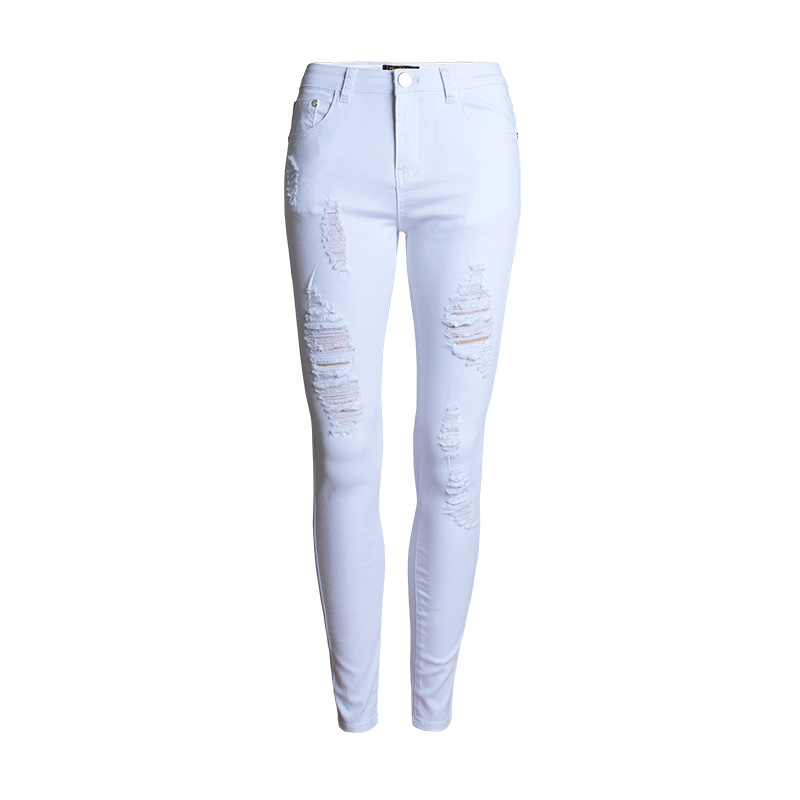 New Designer Denim Women Skinny White Jeans 2016 Mid Waist Ripped Jeans for Women Elastic Slim ...
