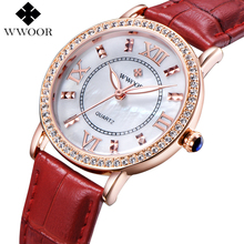 Buy Brand Luxury Women's Watches Red Leather Rose Gold Casual Quartz Watch Ladies Diamonds Clock Women Dress Watch Relogio Feminino for $17.99 in AliExpress store